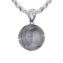 Basketball Necklace In Sterling Silver - 2.3mm Rope Chain