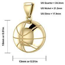 Small 10K or 14K Yellow Gold 3D Basketball Pendant Necklace, 13mm