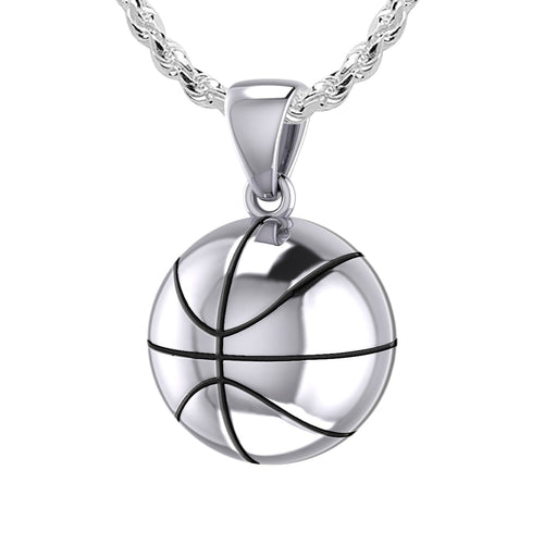 Small 925 Sterling Silver 3D Basketball Pendant Necklace, 13mm
