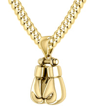 14k Yellow Double Boxing Glove Pendant Necklace