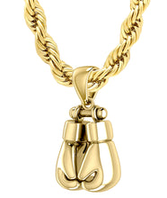32mm 3D 14k Yellow Double Boxing Glove Pendant Necklace