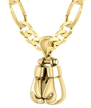 3D 14k Yellow Double Boxing Glove Pendant Necklace