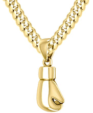 32mm 3D 14k Yellow Single Boxing Glove Pendant Necklace, 27g!