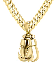 32mm 3D 14k Yellow Double Boxing Glove Pendant Necklace, 67g!