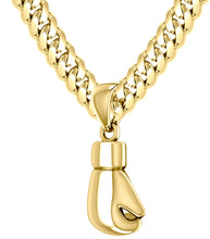 3D Yellow Gold Single Boxing Glove Pendant Necklace