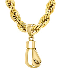 XL 50mm 3D 14K Yellow Gold Single Boxing Glove Pendant Necklace