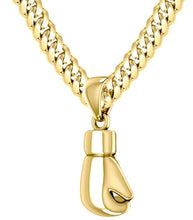 Yellow Gold Single Boxing Glove Pendant Necklace