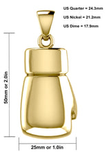 XL 50mm 3D 14K Yellow Gold Single Boxing Glove Pendant Necklace, 45g (Pendant Only)!