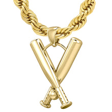 Baseball Necklace - 3D Double Baseball Bat Pendant Necklace