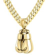Yellow Gold Boxing Glove Chain Necklace Pendant