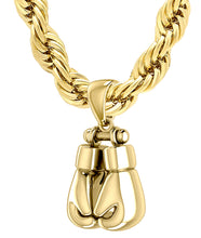 3D Gold Boxing Glove Necklace For Men
