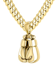 Gold Boxing Glove Necklace - Double Boxing Glove Pendant