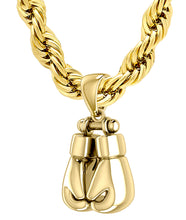Heavy Gold Boxing Glove Necklace Pendant