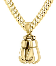Men Gold Boxing Glove Pendant Necklace