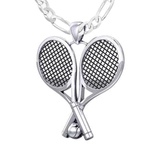 Large 925 Sterling Silver 3D Double Tennis Racket & Ball Pendant Necklace, 39mm