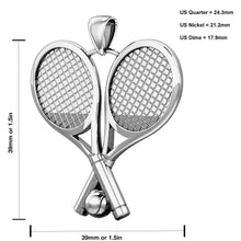 Double Tennis Racket Necklace Of Silver In 3D - Model
