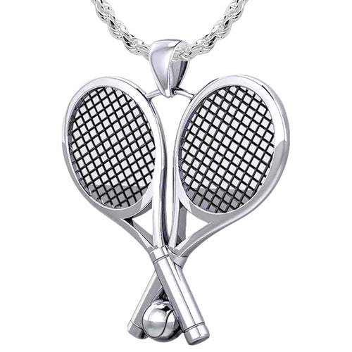 Double Tennis Racket Necklace - Silver Pendant Necklace In 3D