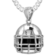 Large 925 Sterling Silver 3D Football Helmet Pendant Necklace, 22mm