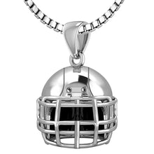 Small 925 Sterling Silver 3D Football Helmet Pendant Necklace, 16.5mm