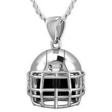 Silver Pendant - 3D Necklace In Football Helmet Design