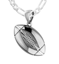 Large 925 Sterling Silver 3D Football Pendant Necklace, 20mm