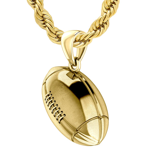 Yellow Gold 3D Football Pendant Necklace