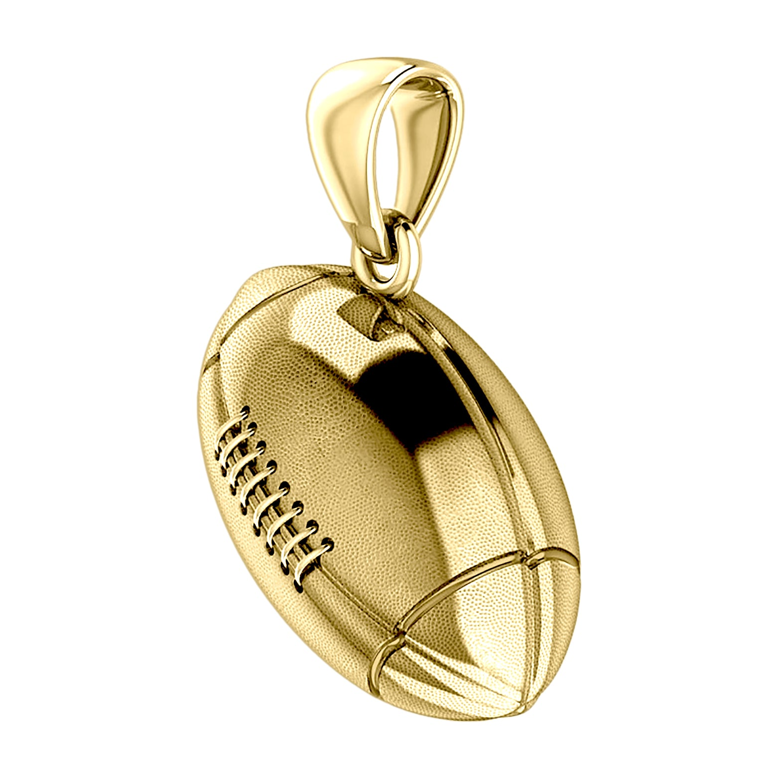 Extra Large 10K or 14K Yellow Gold 3D Football Pendant Necklace, 29mm