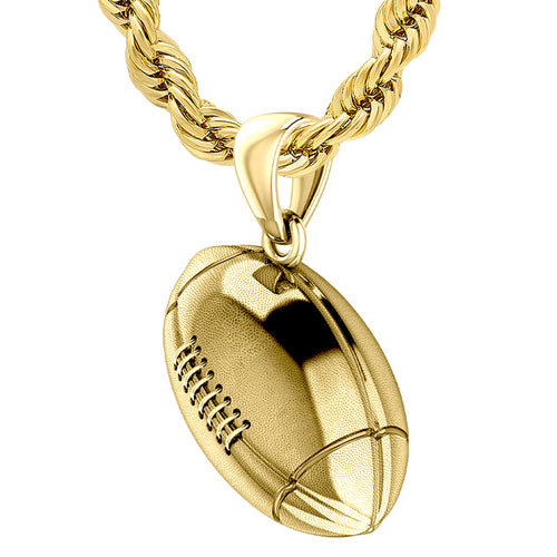 Football Necklace - 3D Gold Pendant Necklace