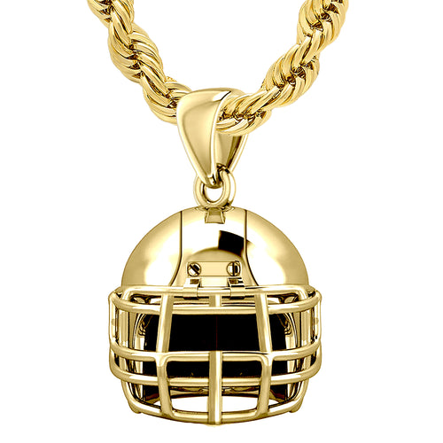 Yellow Gold Pendant - 3D Necklace In Football Helmet Design