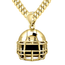 Large Yellow Gold Football Helmet Pendant Necklace