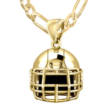 14K Yellow Gold Football Helmet Pendant Necklace