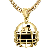 Large 10K Yellow Gold Football Helmet Pendant Necklace