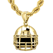 Yellow Gold Football Helmet Pendant Necklace