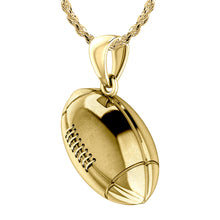 Small 10K or 14K Yellow Gold 3D Football Pendant Necklace, 17mm