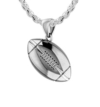 Small 925 Sterling Silver 3D Football Pendant Necklace, 17mm