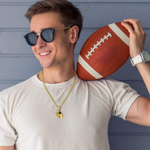 Yellow Gold 3D Football Pendant Necklace model
