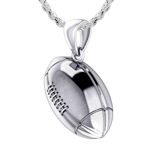 Football Necklace - Silver Pendant Necklace In 3D