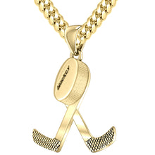 Gold 3D Double Hockey Stick & Puck Sport Pendant Necklace