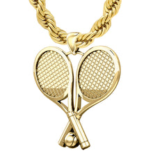 Tennis Racket Necklace - Gold Pendant With Two Rackets