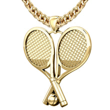 Large 10K or 14K Yellow Gold 3D Double tennis racket pendant necklace 39mm