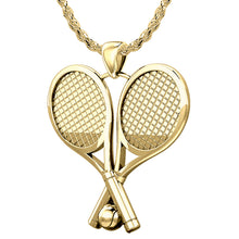 14K Gold Double Tennis Racket & Ball Pendant Necklace