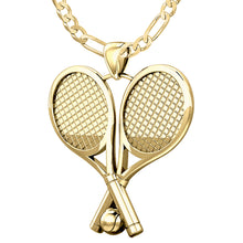 Double Tennis Racket & Ball Pendant Necklace, 25mm