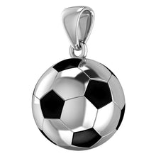 Large 925 Sterling Silver 3D Soccer Ball Football Pendant Necklace, 18.5mm