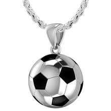 Small 925 Sterling Silver 3D Soccer Ball Football Pendant Necklace, 13mm