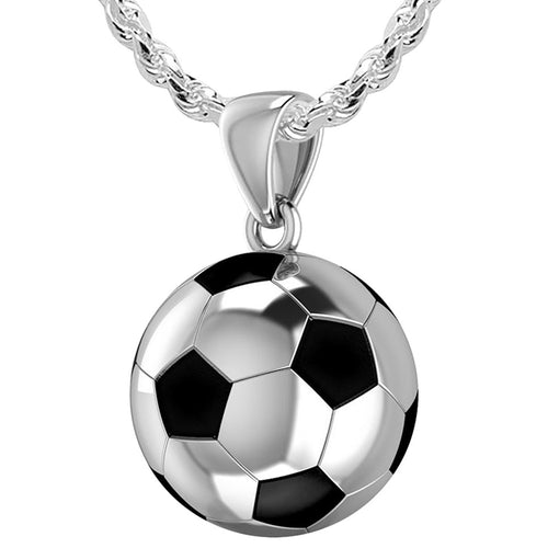 Soccer Ball Necklace - Football Pendant In 925 Silver