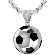 Extra Large 925 Sterling Silver 3D Soccer Ball Football Pendant Necklace, 25mm