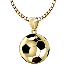 Yellow Gold Soccer Ball Football Pendant Necklace