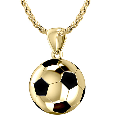 Soccer Ball Necklace - Football Pendant In  Yellow Gold