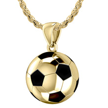14K Yellow Gold Soccer Ball Football Pendant Necklace