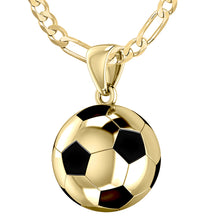 10K Yellow Gold Soccer Ball Football Pendant Necklace